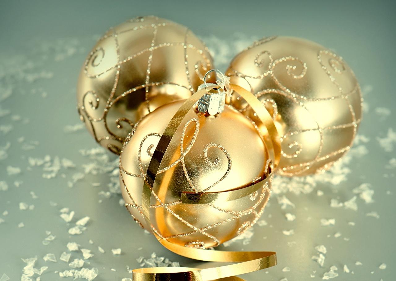 Photos New year Gold color Balls Holidays Christmas