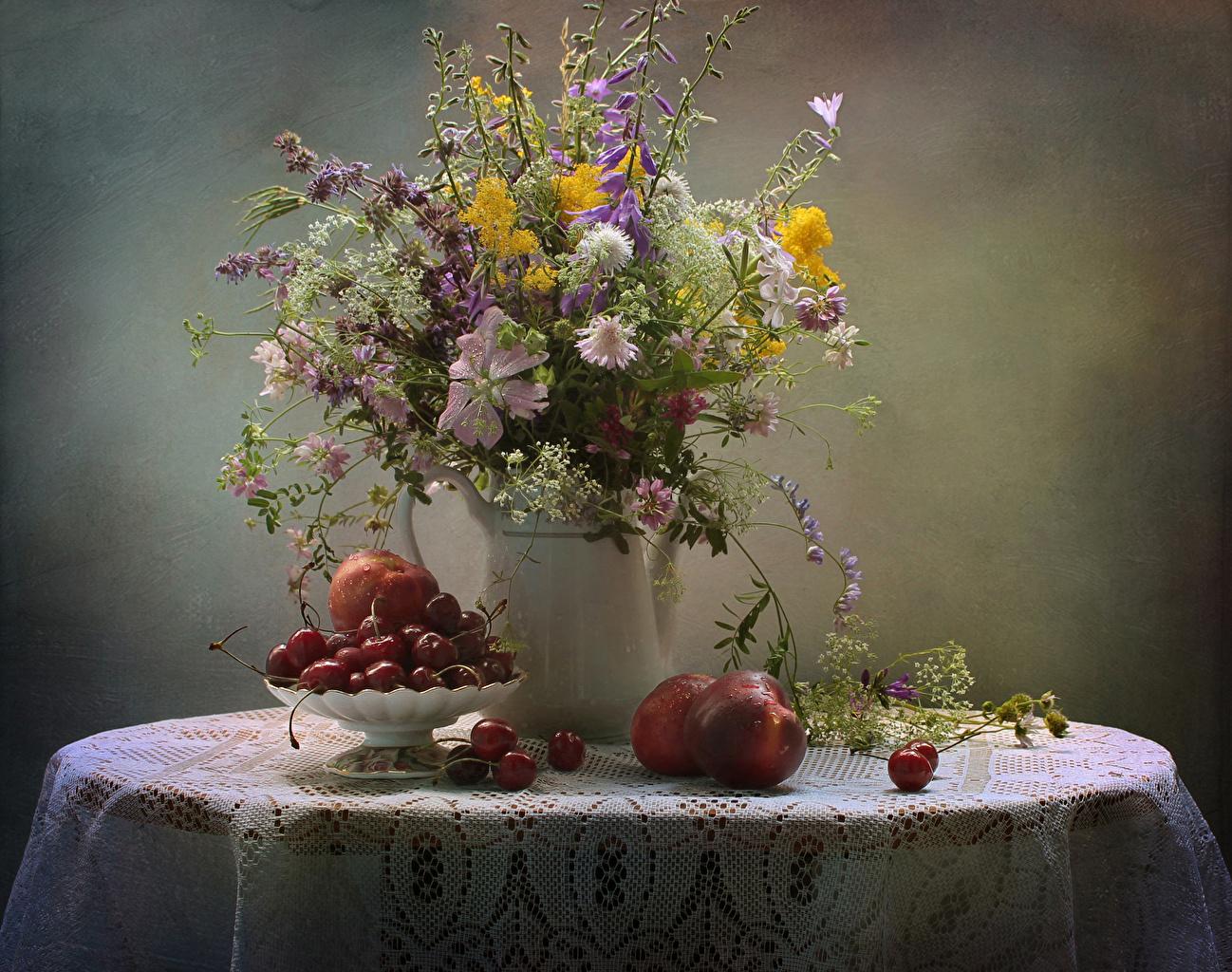 Desktop Wallpapers Tablecloth Bouquets flower Cherry Peaches Vase Food Table Bells Cornflowers Still-life bouquet Flowers Handbell Centaurea