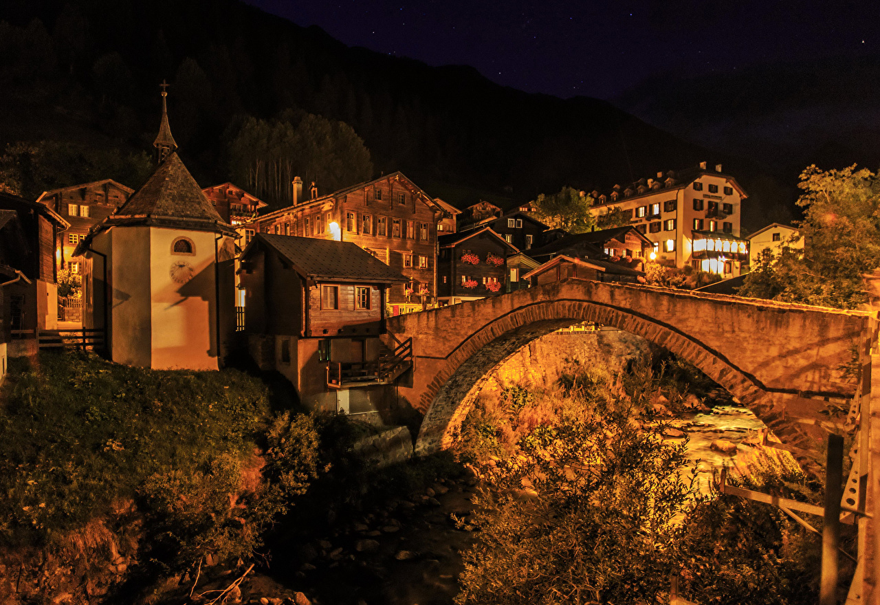 Immagine Svizzera Binn ponte Di notte Città edificio Ponti Notte notturna La casa