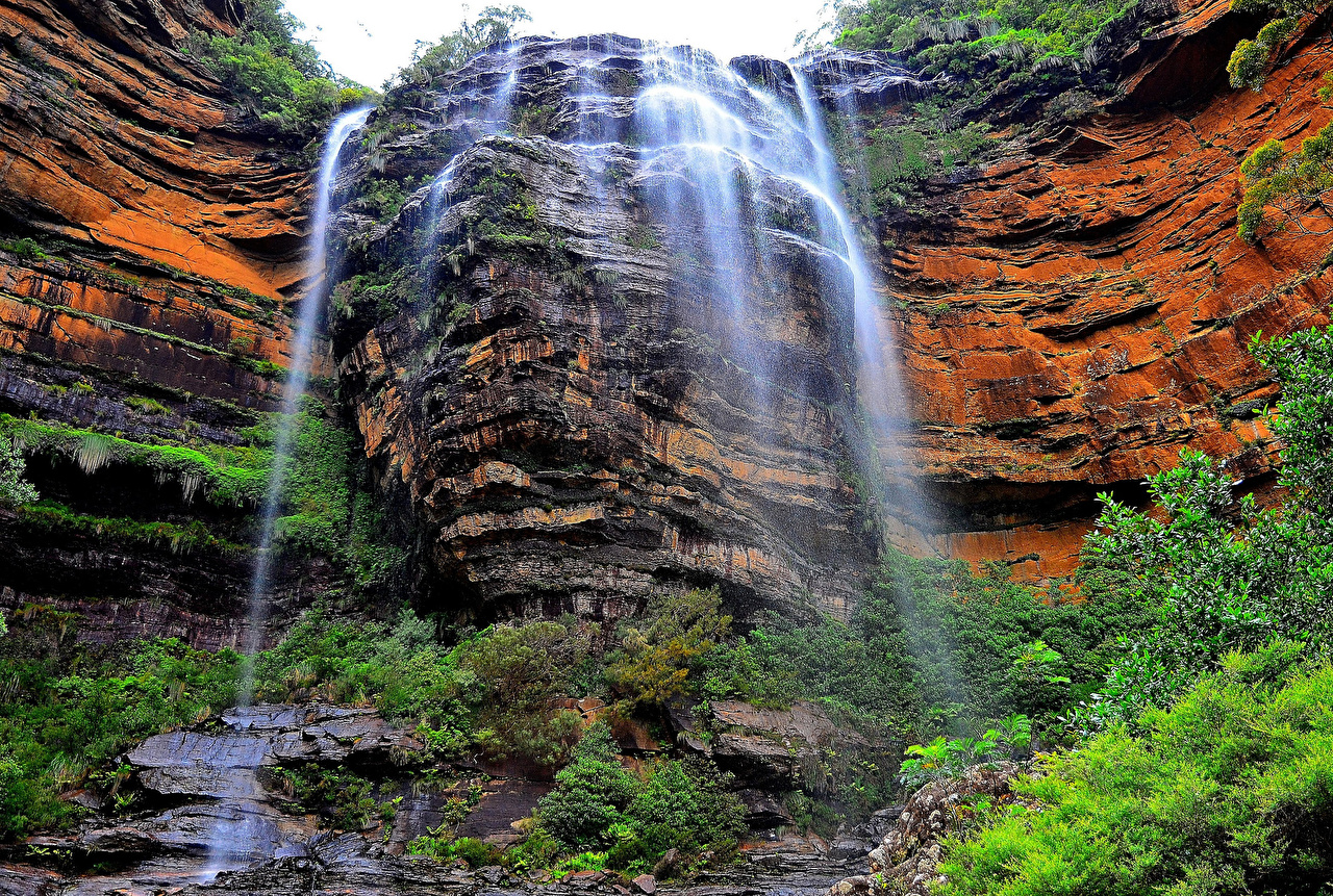 Desktop Wallpapers Australia Wentworth Falls Crag Nature