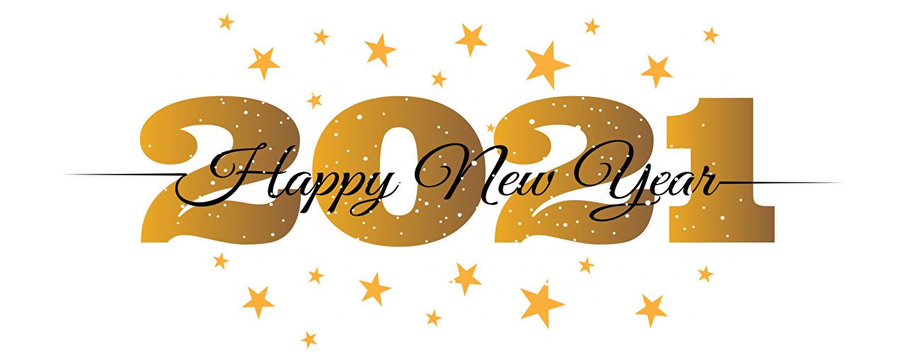 Desktop Hintergrundbilder 2021 Neujahr Englisch Stern-Dekoration Wort Weißer hintergrund englische englisches englischer kleine Sterne text