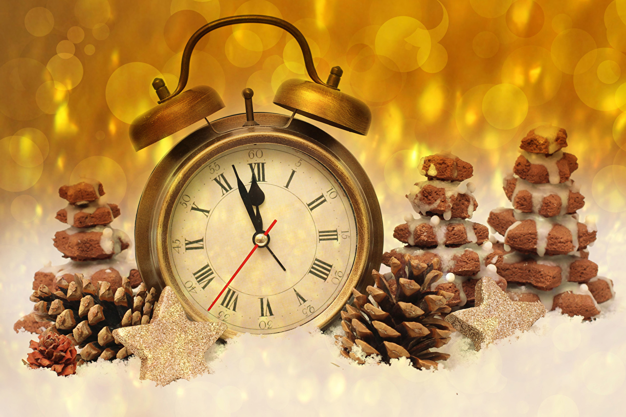 Desktop Wallpapers Christmas Star decoration Clock Alarm clock Cookies Pine cone New year little stars Conifer cone