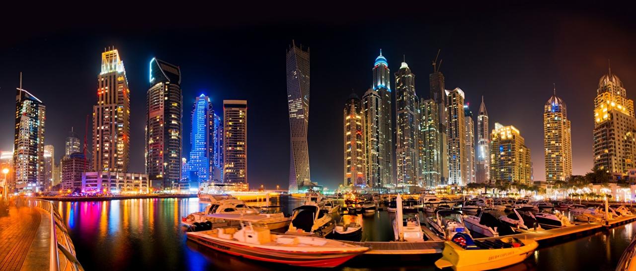 Photo Dubai Emirates UAE Boats night time Skyscrapers Cities Night