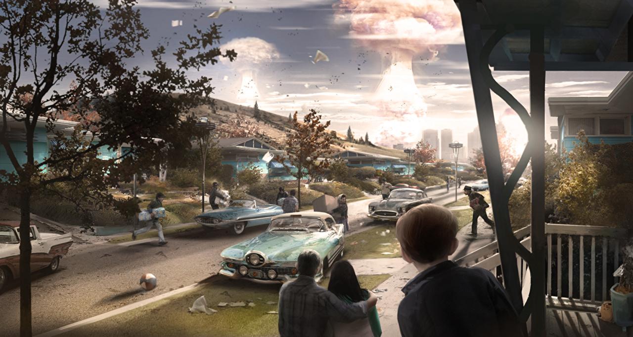 Foto's Fallout 4 Explosie Apocalypse Fantasy Mensen videogames stadsstraat Straat computerspel Computerspellen