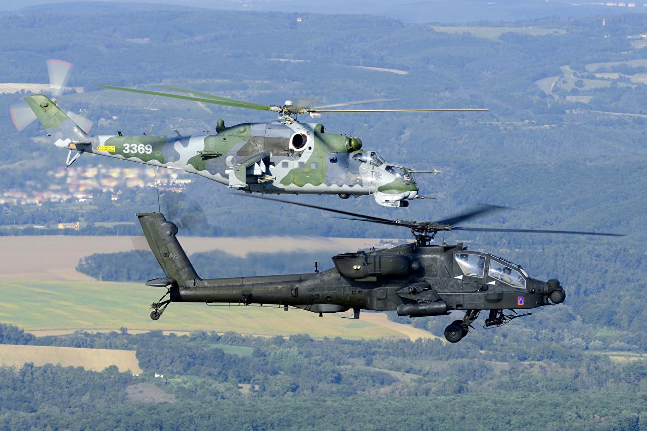 Achtergronden Helikopters AH-64 Apache amerikaans Russische Mi-24 Twee 2 Vlucht Luchtvaart helikopter Amerikaanse vliegende