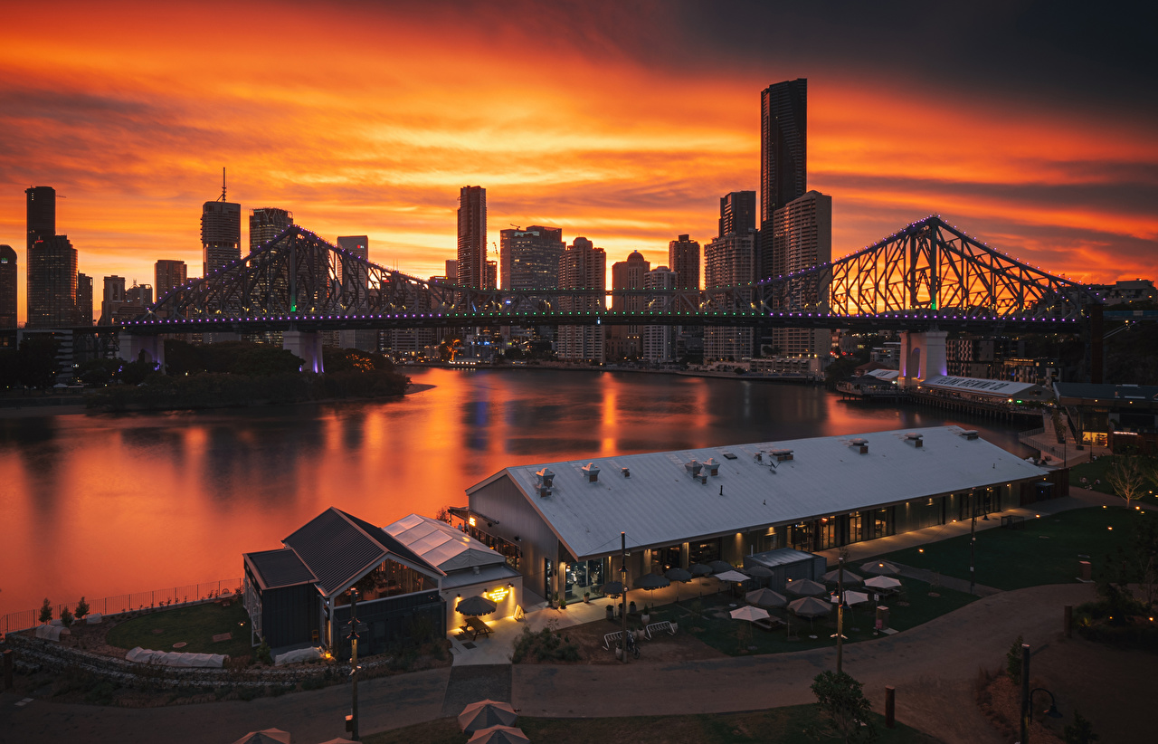 Picture Brisbane Australia bridge Sunrises and sunsets Rivers Marinas Cities Building Bridges sunrise and sunset Pier river Berth Houses