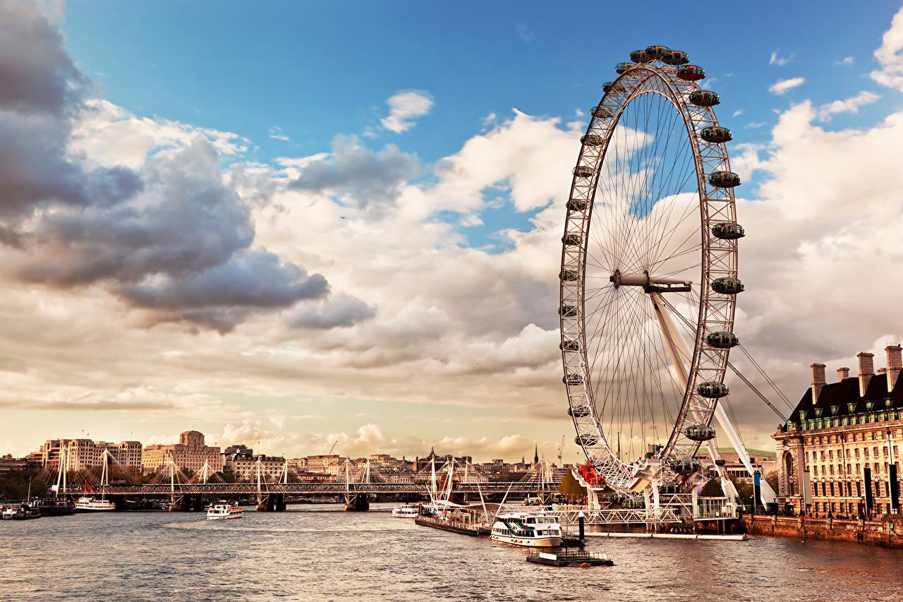 Inglaterra Rios Céu Thames River skyline the London Eye Londres Roda-gigante Nuvem rio Cidades