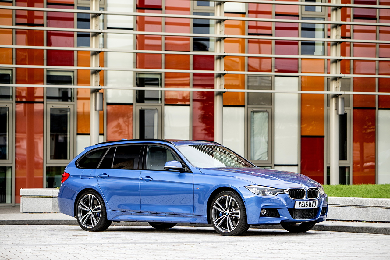 Wallpaper BMW 2015 M3 Tourng Sport F31 Light Blue Side Cars auto automobile