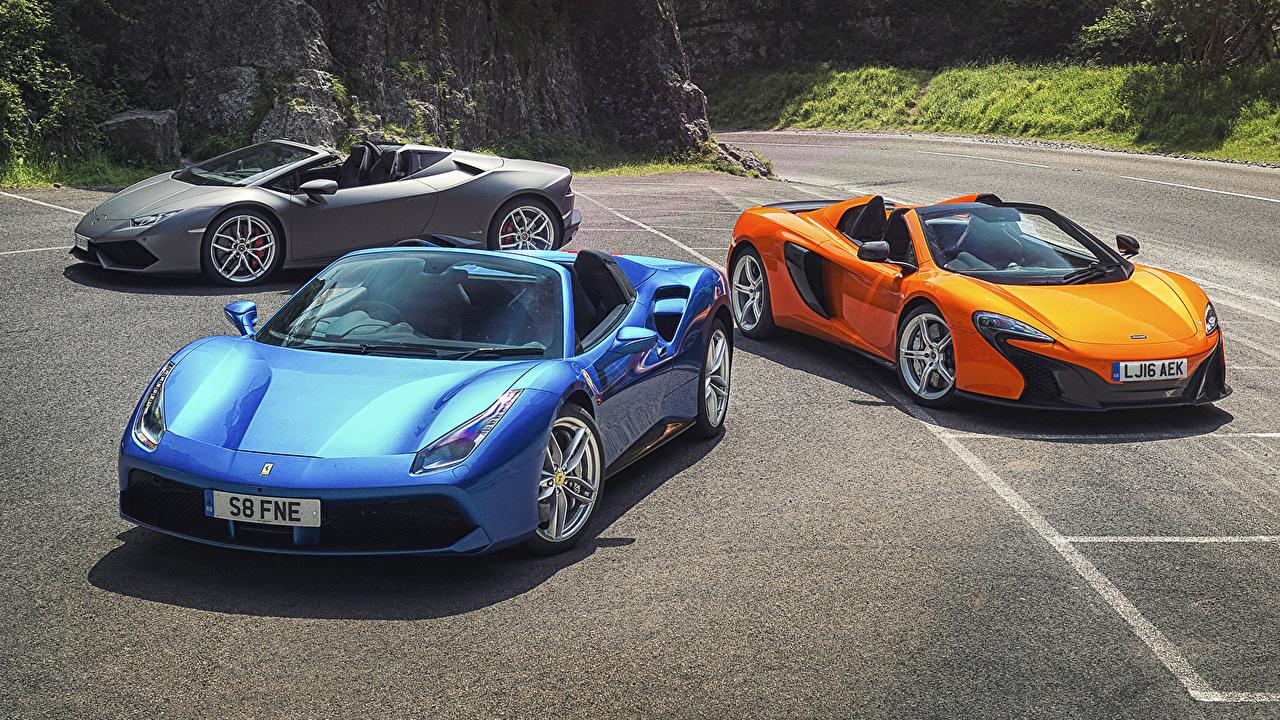 Images McLaren Ferrari Lamborghini 488, Lambo Huracan, 650S Cars Three 3 auto automobile