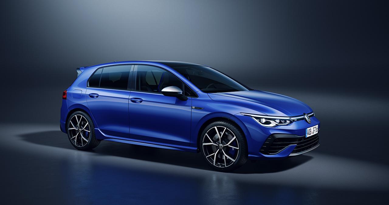 Achtergronden bureaublad Volkswagen Golf R, 2020 Blauw kleur auto's Metallic Auto automobiel