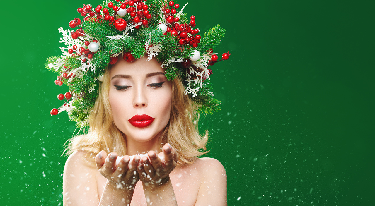 Photos New year Blonde girl young woman Creative Berry Hands Branches Red lips Colored background Christmas Girls female