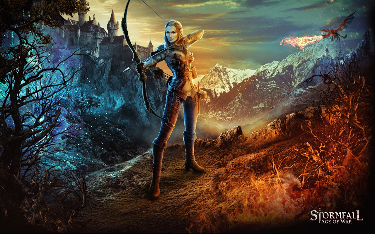 Wallpaper Stormfall: Age of War Archers Elves Bow weapon Girls Fantasy Games Elf female young woman vdeo game