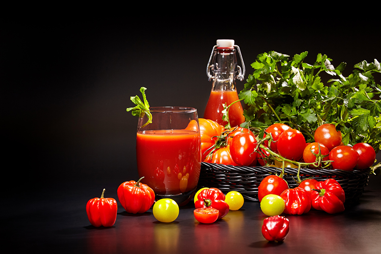 Images Juice Tomatoes Highball glass Food Vegetables