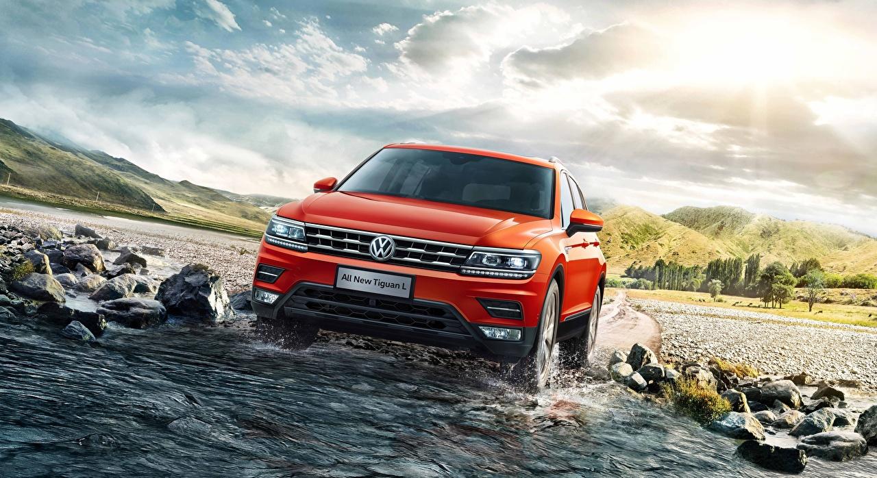 Image Volkswagen Crossover Tiguan Orange auto Water Front CUV Cars automobile