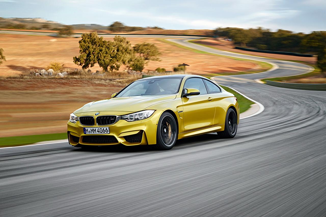Wallpaper BMW 2014 M4 Yellow Nature Roads Metallic automobile Cars auto