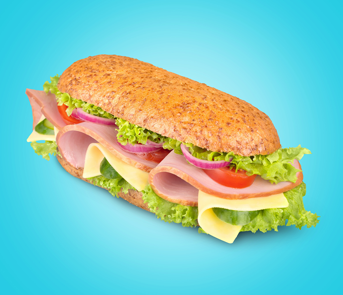 Picture Sausage Sandwich Fast food Food Vegetables Colored background