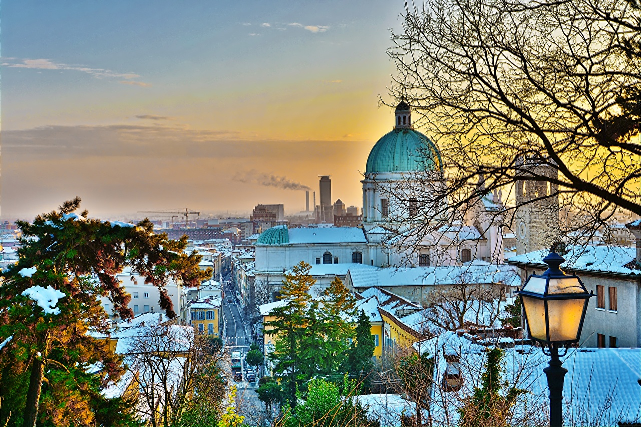 Photos Cathedral Italy Brescia HDRI Winter Snow Trees Cities Building HDR Houses