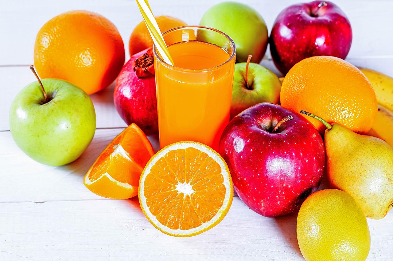 Picture Juice Orange fruit Pears Apples Highball glass Food Fruit