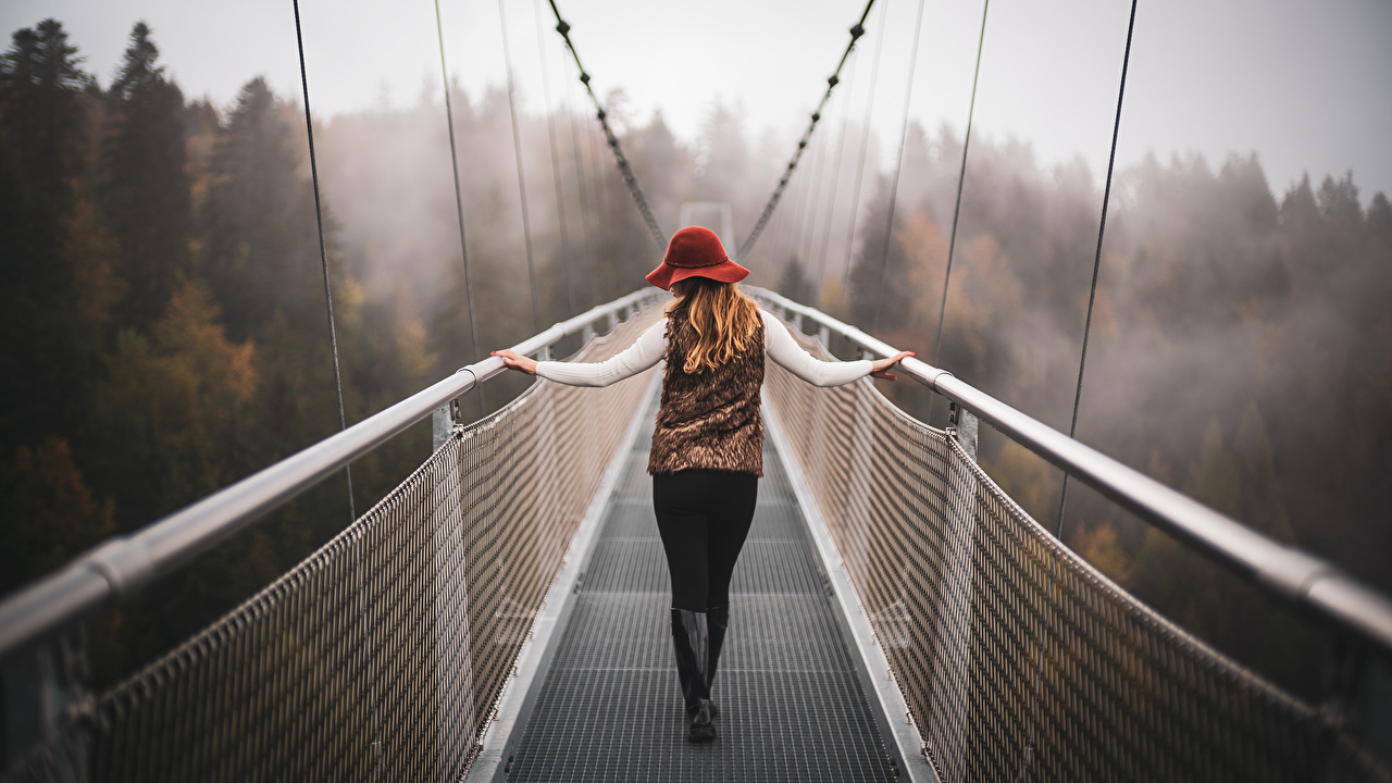 Picture Switzerland Bokeh Fog Girls Nature bridge Mountains blurred background female Bridges mountain young woman