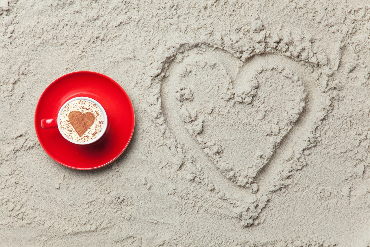 Images Valentine's Day Heart Cappuccino Sand