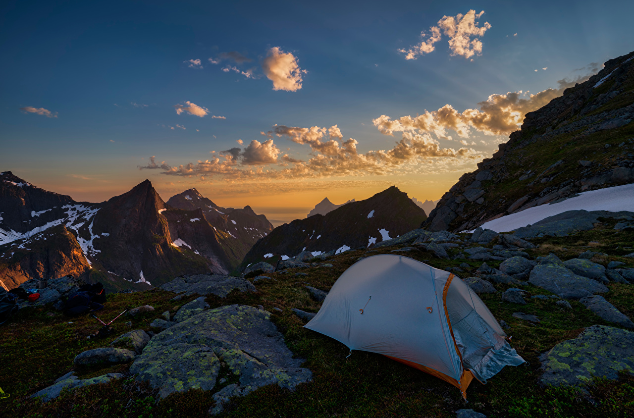 Desktop Wallpapers Lofoten Norway Tent Nature Mountains Sky Stones Clouds mountain stone