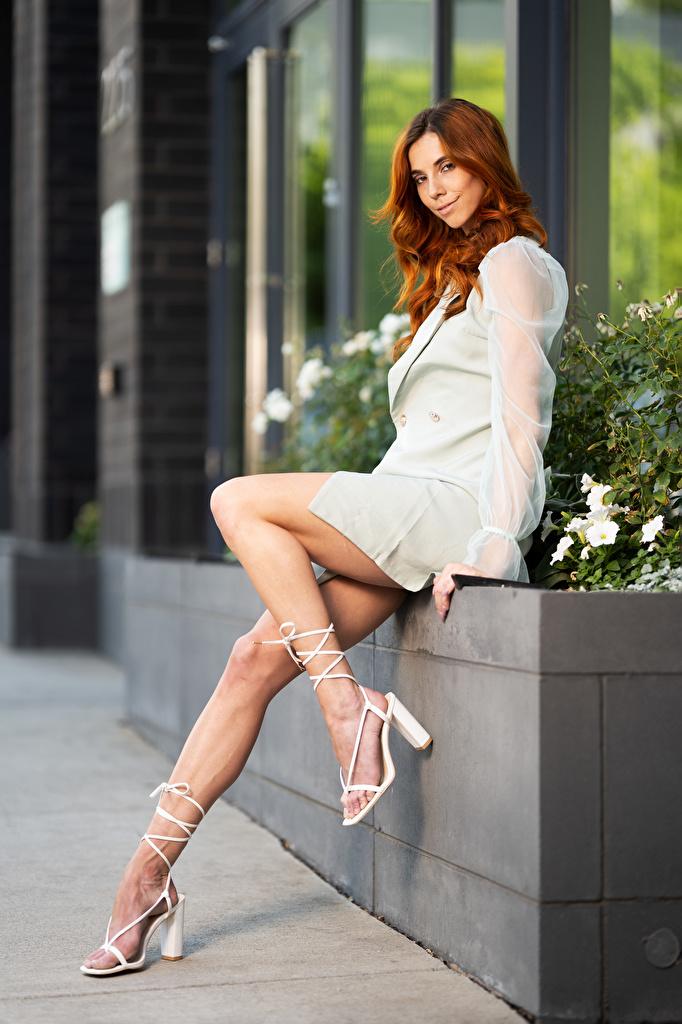 Fotos von Taylor Freeze Rotschopf Pose Mädchens Bein sitzt Blick Kleid  für Handy posiert junge frau junge Frauen sitzen Sitzend Starren