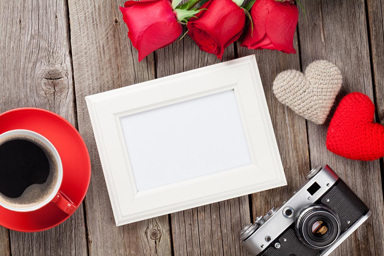 Bilder Valentinstag Fotoapparat Herz Rosen Kaffee Vorlage Grußkarte Bretter