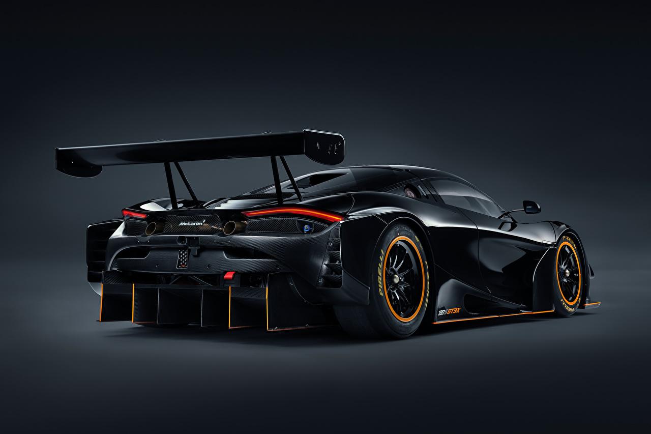 Photos McLaren 720S GT3X, 2021 Black auto Metallic Back view Cars automobile