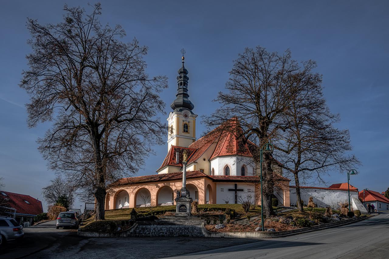 Desktop Wallpapers Church Austria Sankt Marein Trees Cities