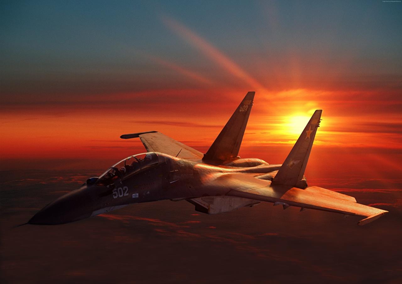 Bilder von Soukhoï Su-30 Jagdflugzeug Flugzeuge Russische Sonnenaufgänge und Sonnenuntergänge Luftfahrt
