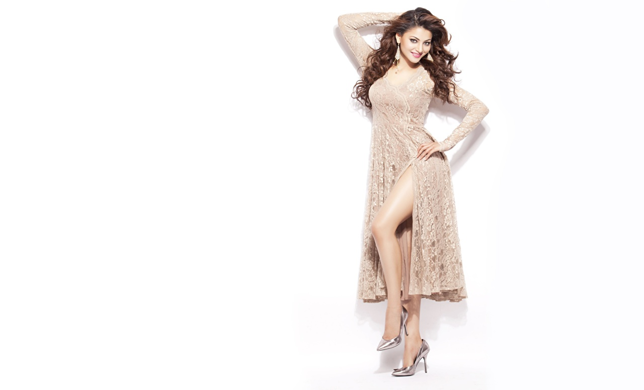 Bilder von Indian Braunhaarige Model Urvashi Rautela posiert junge Frauen Prominente Weißer hintergrund Kleid Braune Haare Pose Mädchens junge frau