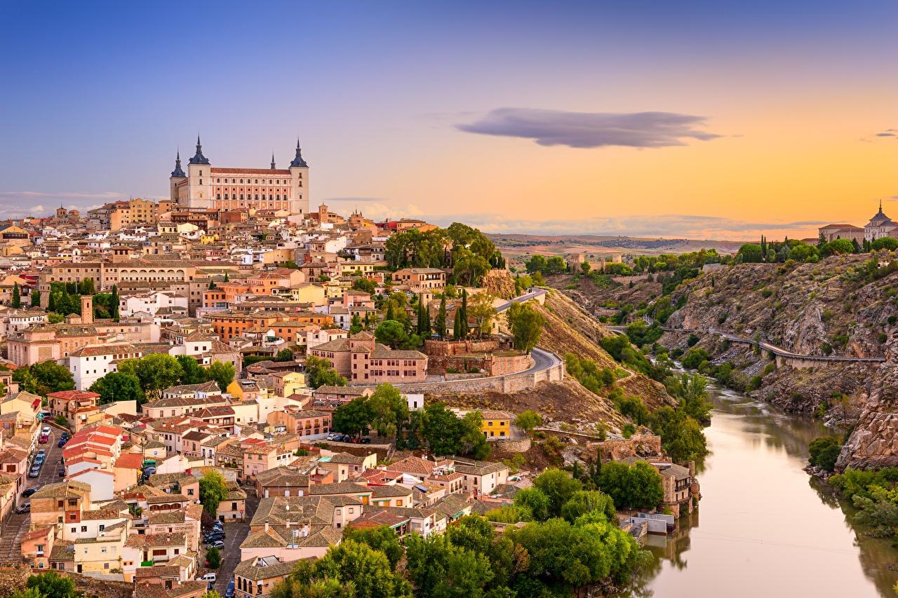 Wallpaper Toledo Spain Castile-La Mancha, Tagus river castle sunrise and sunset Rivers Cities Castles Sunrises and sunsets