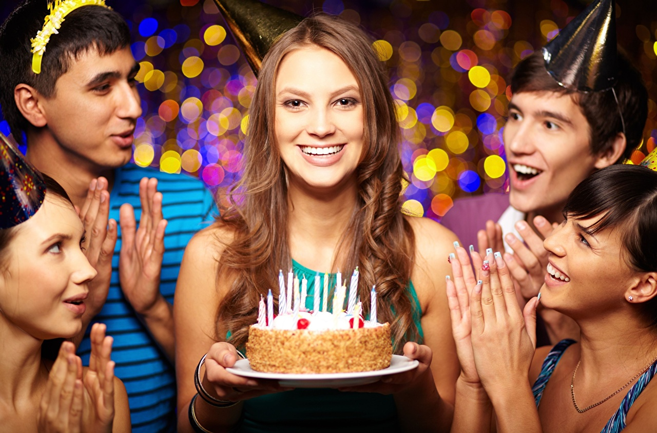 Image Birthday Brown haired Smile happy Cakes female Candles Holidays Joy joyful Torte Girls young woman