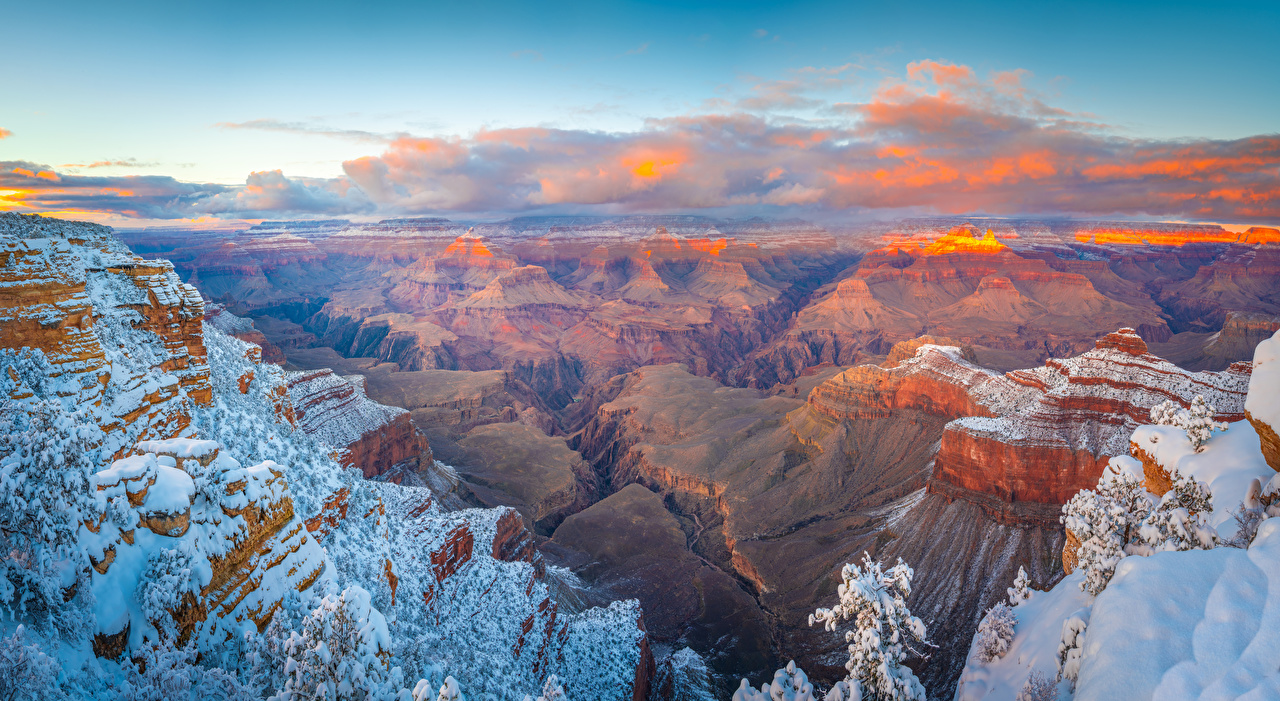 Pictures Grand Canyon Park USA Arizona Crag Canyon Nature park Snow landscape photography Clouds Rock Cliff canyons Parks Scenery