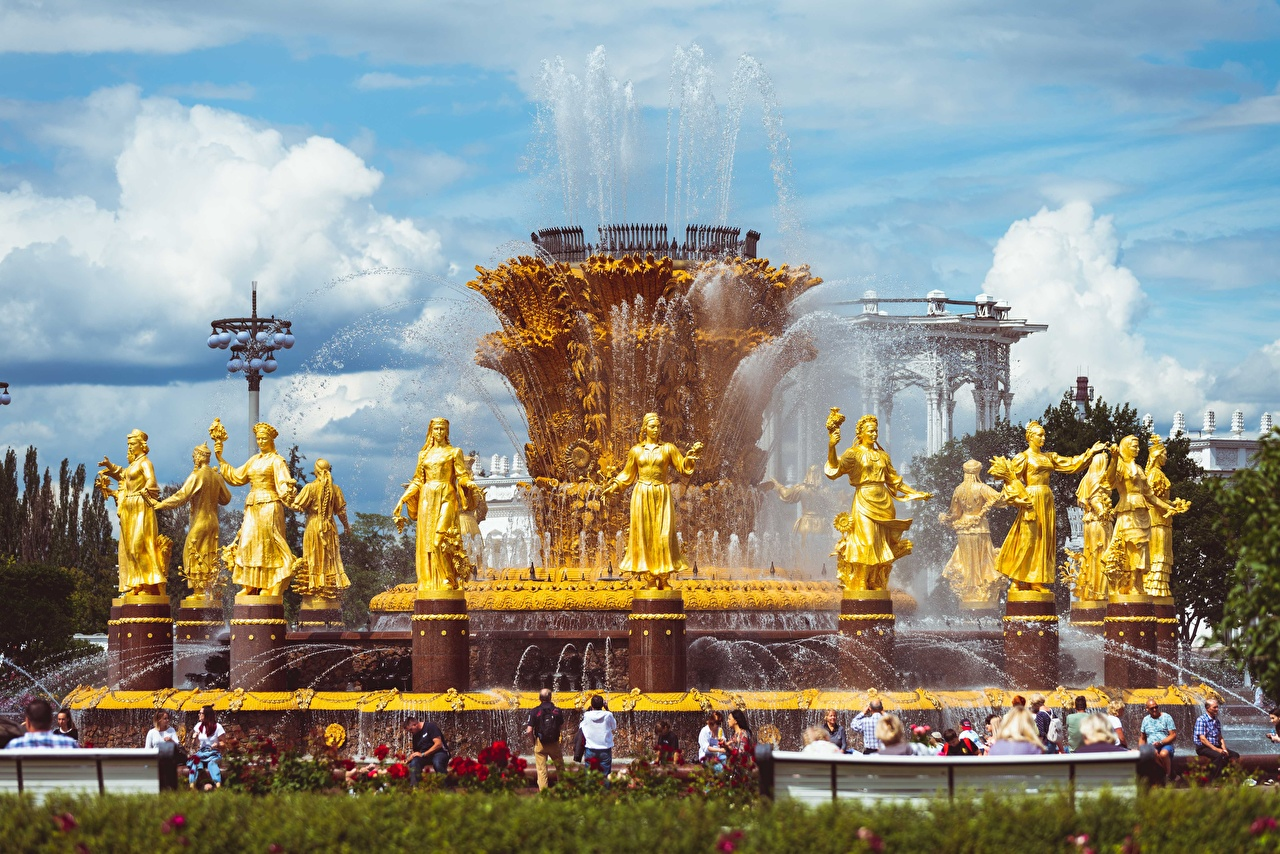Wallpaper Moscow Russia Fountains Vdnkh, Fountain Friendship of peoples Gold color park Cities Sculptures Parks