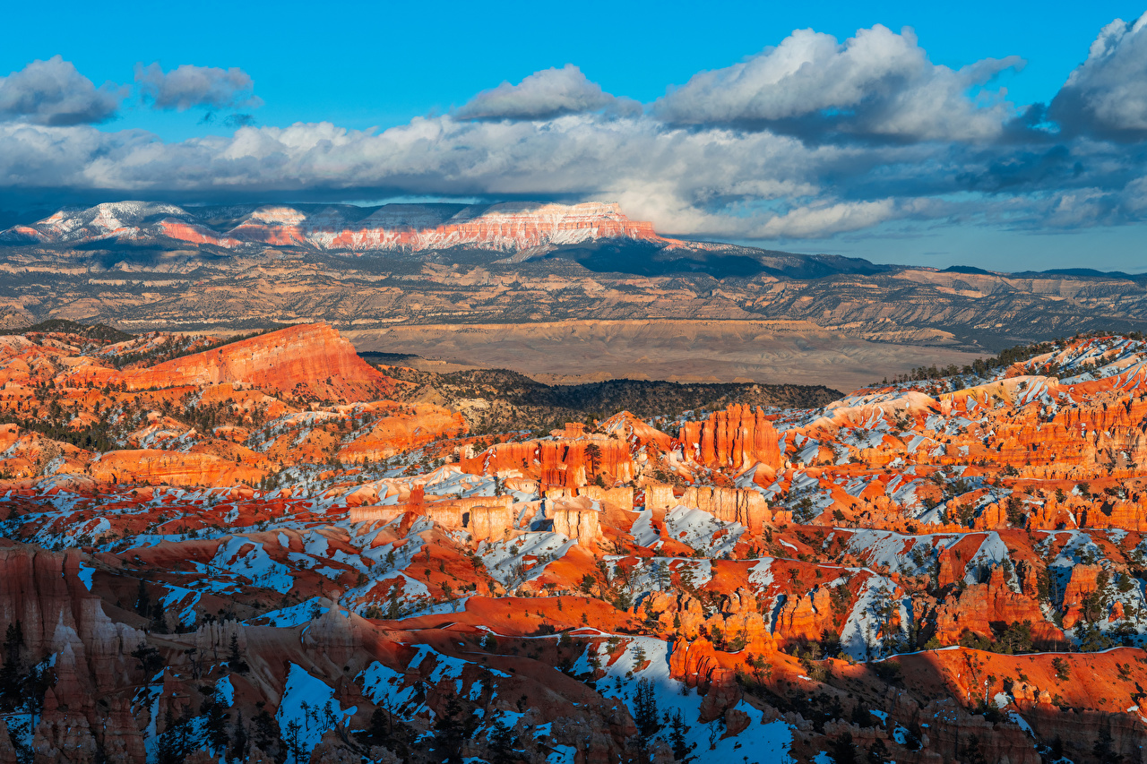 Image USA Bryce Canyon National Park, Utah Crag Nature park Scenery Clouds Rock Cliff canyons Parks landscape photography