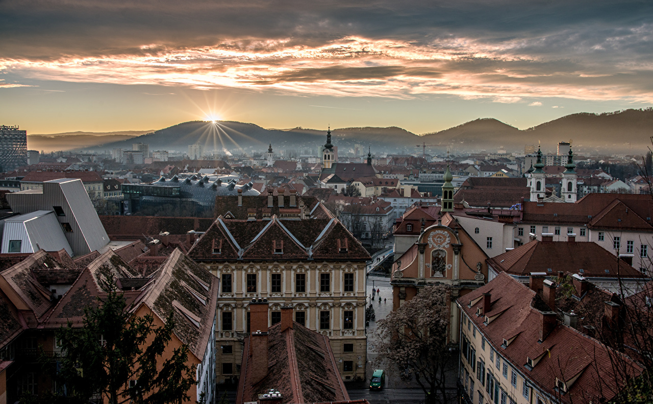 Desktop Wallpapers Austria Graz Mountains Sunrises and sunsets Houses Cities mountain sunrise and sunset Building