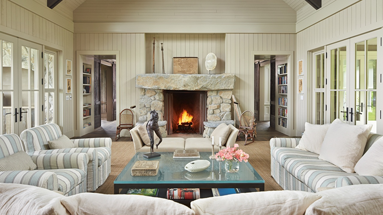 Photo Living room Room Interior Fireplace Table Couch Armchair Pillows Design lounge sitting room Sofa Wing chair