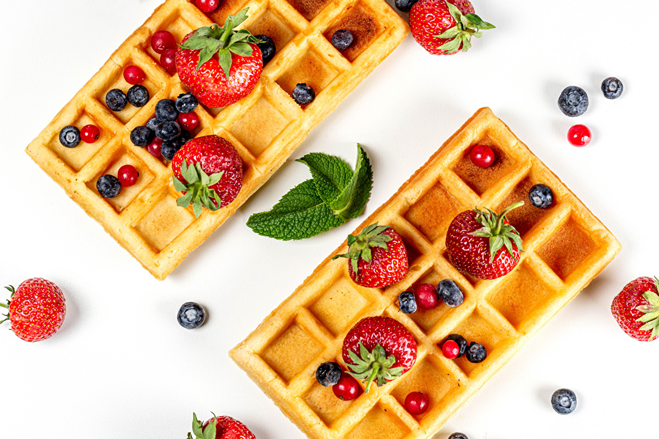 Pictures Waffles Strawberry Blueberries Food Berry Pastry White background waffle baking
