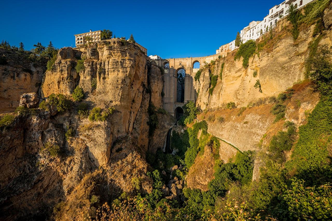Image Spain Rhonda, Malaga, El Tahoe Gorge Rock Cities Crag Cliff