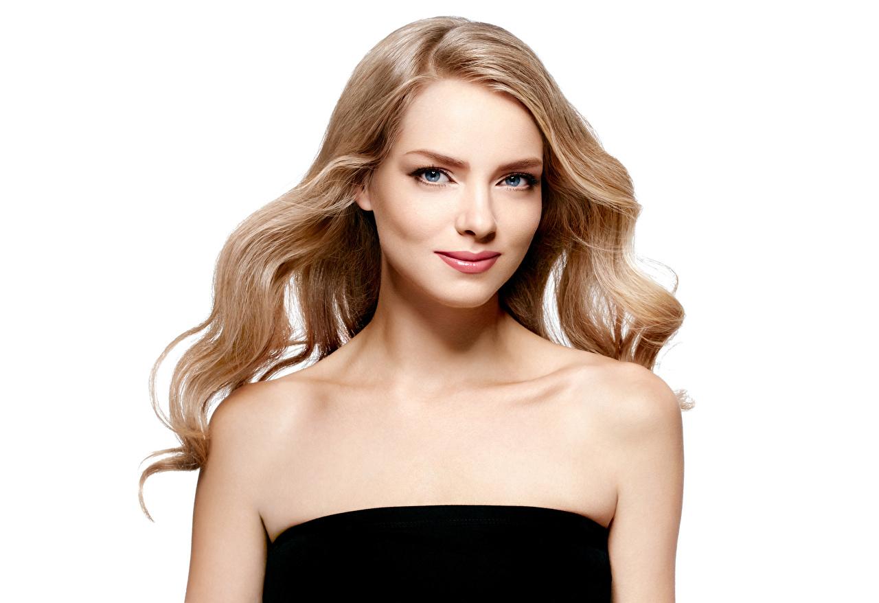 Bilder von Blond Mädchen Mädchens Blick Weißer hintergrund Blondine Starren