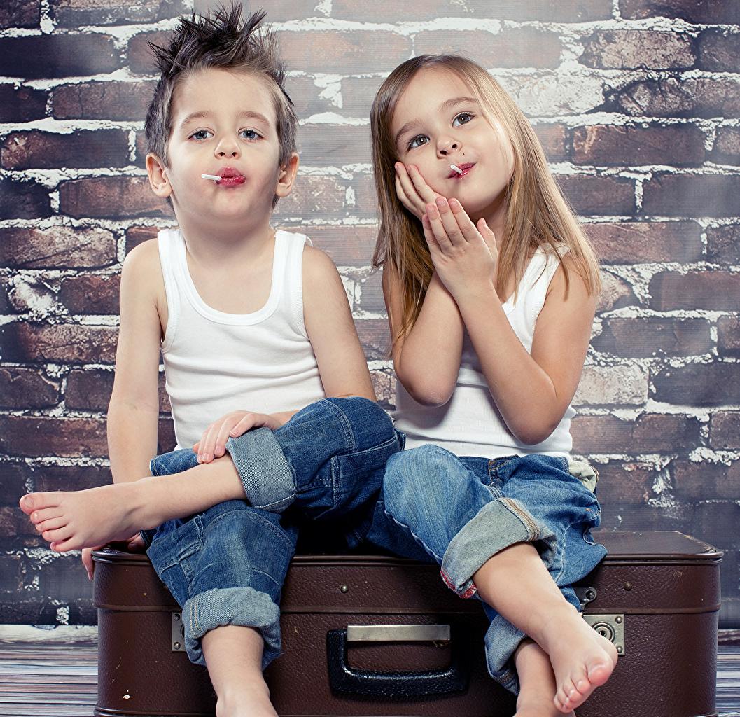 Image Little girls Boys Children 2 Jeans Singlet child Two Sleeveless shirt