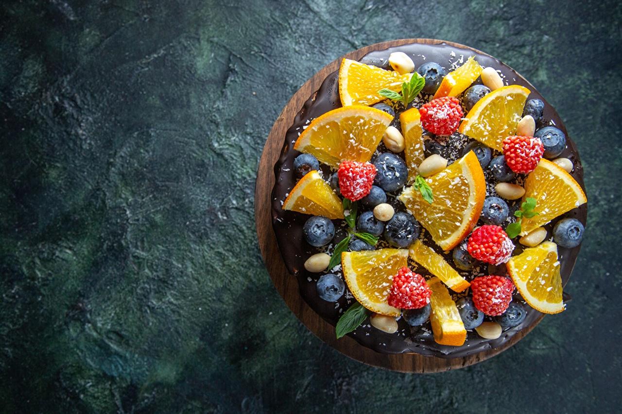Bakgrunnsbilder Kake Appelsin Blåbær Bringebær Mat