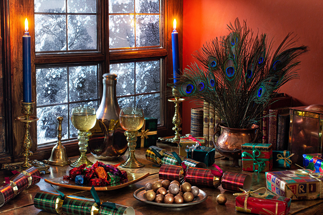 Image New year Candy Champagne present Feathers Vase Food Window Candles Stemware Still-life Christmas Sparkling wine Gifts