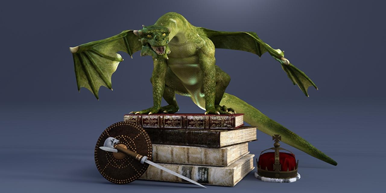 Desktop Hintergrundbilder Drache Krone 3D-Grafik Bücher Drachen Buch
