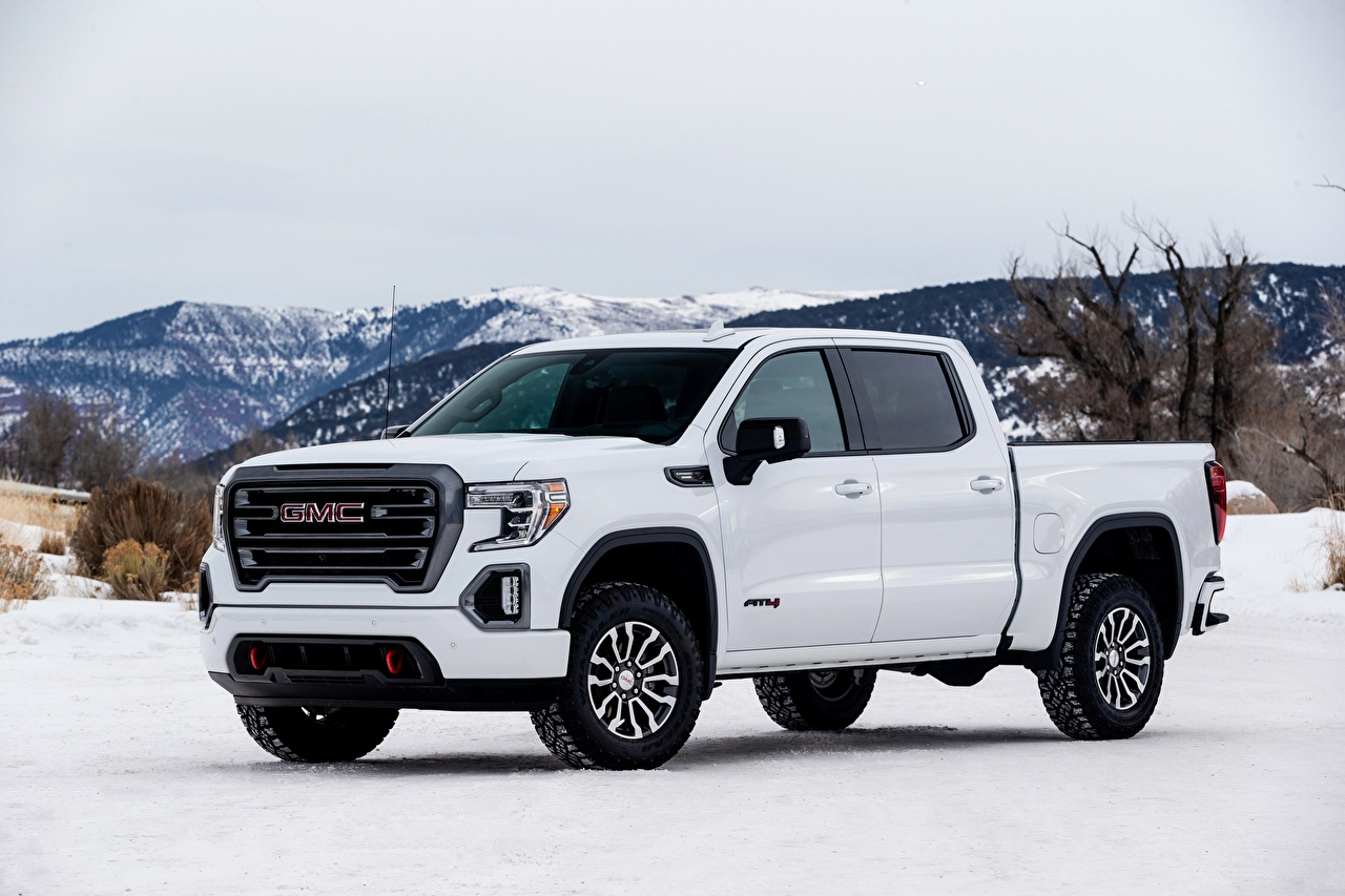 Photos General Motors Company Sierra, AT4, 2019 Pickup White Snow Metallic automobile GMC auto Cars