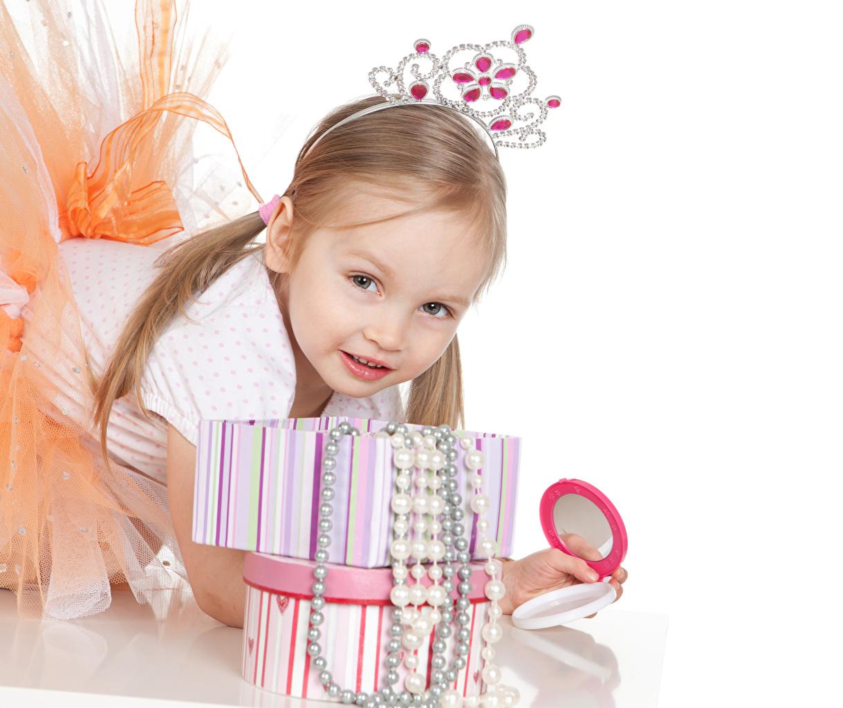 Images Little girls Crown Children Staring White background Jewelry child Glance