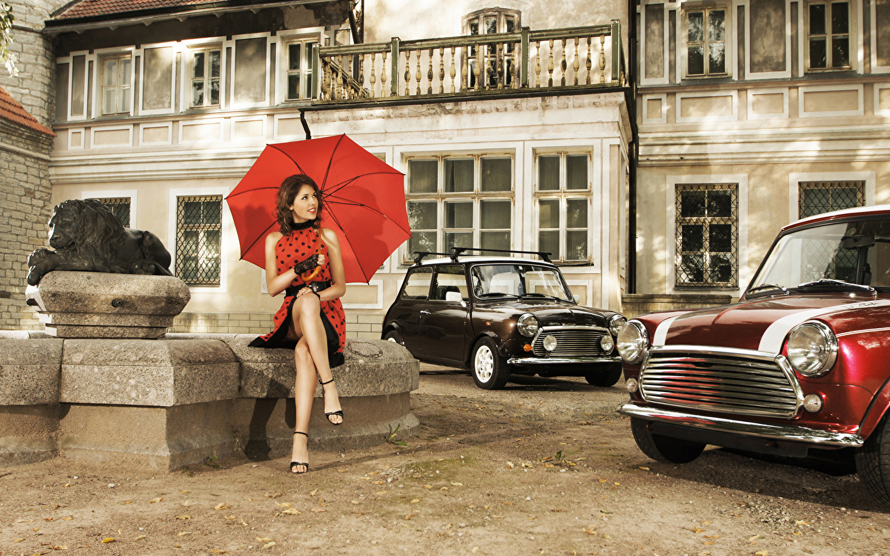 Photos Retro Girls sit parasol female vintage antique young woman Sitting Umbrella