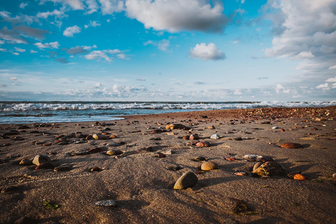 Photos Russia Baltic Sea Zelenogradsk beaches Nature Sky Sand Coast Stones Horizon Clouds 1ZOOM Beach stone