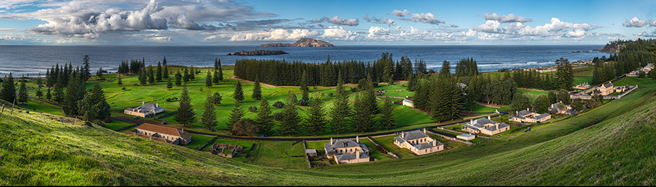 Picture Nature Australia Norfolk Island Clouds landscape photography Coast Building Panorama Scenery Houses panoramic